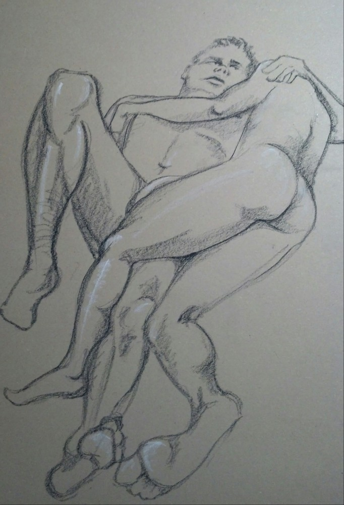 Art. Sex. Vitruvian Drawing Group. 02-27-14. Two Models and some news. (1/6)