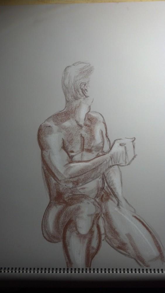 Sex. Art. Vitruvian Thursday Night Drawing Group. Model: Brian. September 18, 2014 (3/6)