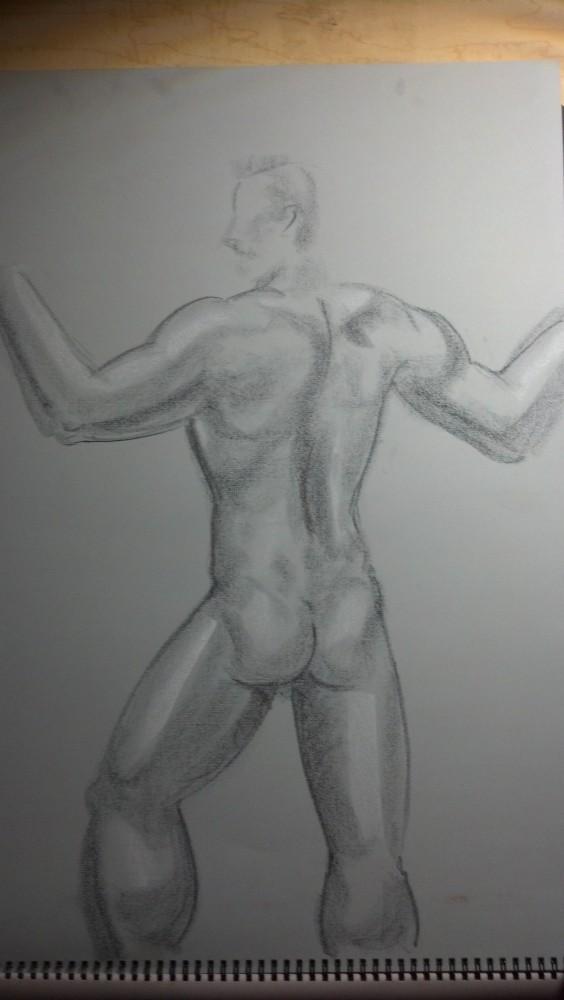 Sex. Art. Vitruvian Thursday Night Drawing Group. Model: Brian. September 18, 2014 (4/6)