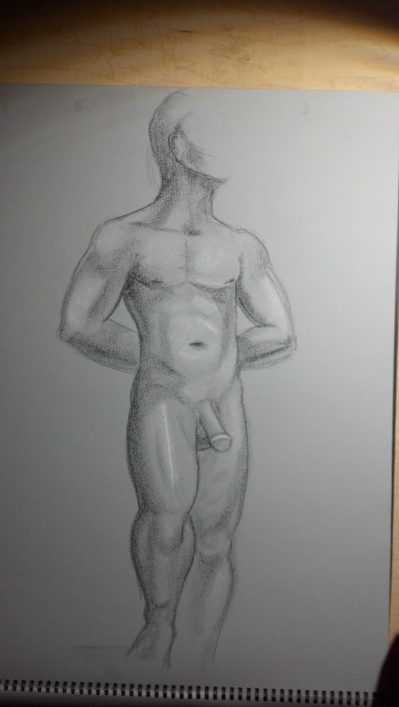 Sex. Art. Vitruvian Thursday Night Drawing Group. Model: Brian. September 18, 2014 (5/6)