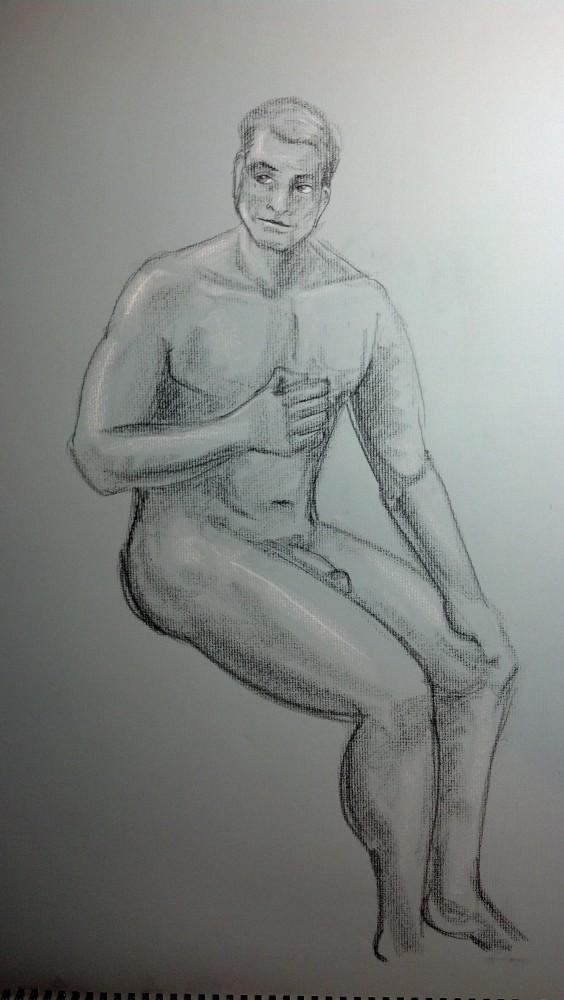 Art. Sex. Vitruvian Thursday Night Drawing Group. 10.3.14. Model: Justin (4/6)